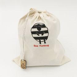 baa humbug embroidered sheep project bag