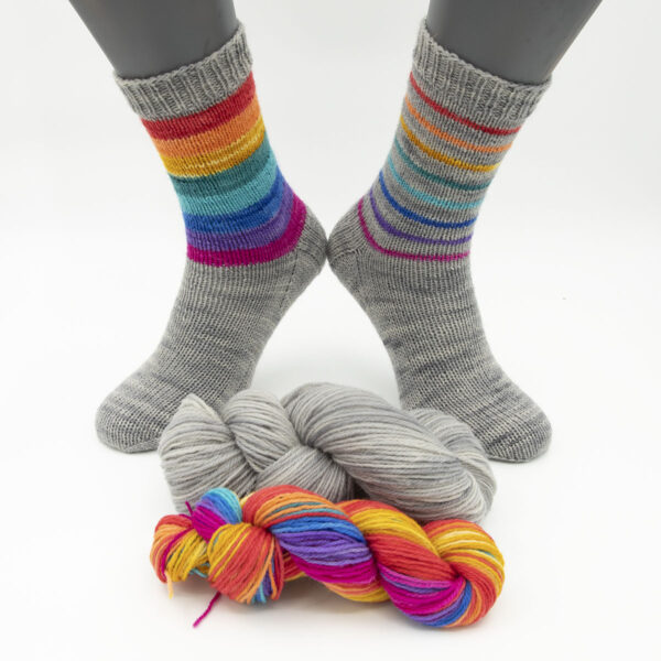 DK rainbow stripes on silver socks kit