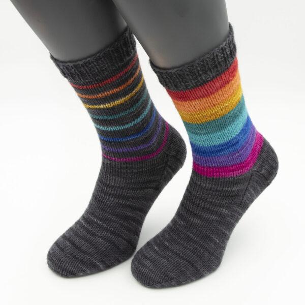 DK rainbow stripes on coal socks kit