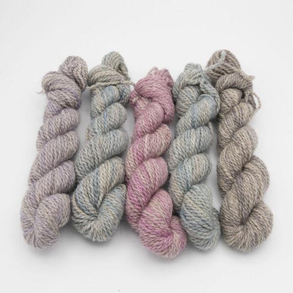 4ply BFL Masham mini skeins in Pastels colourway