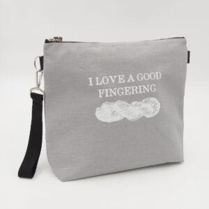 Silver linen zipped bag with I Love A Good Fingering print