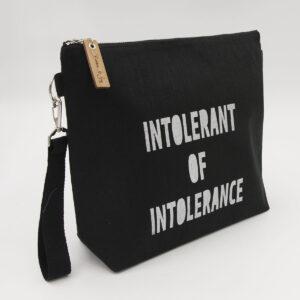 Black linen zipped bag with Intolerant of intolerance print
