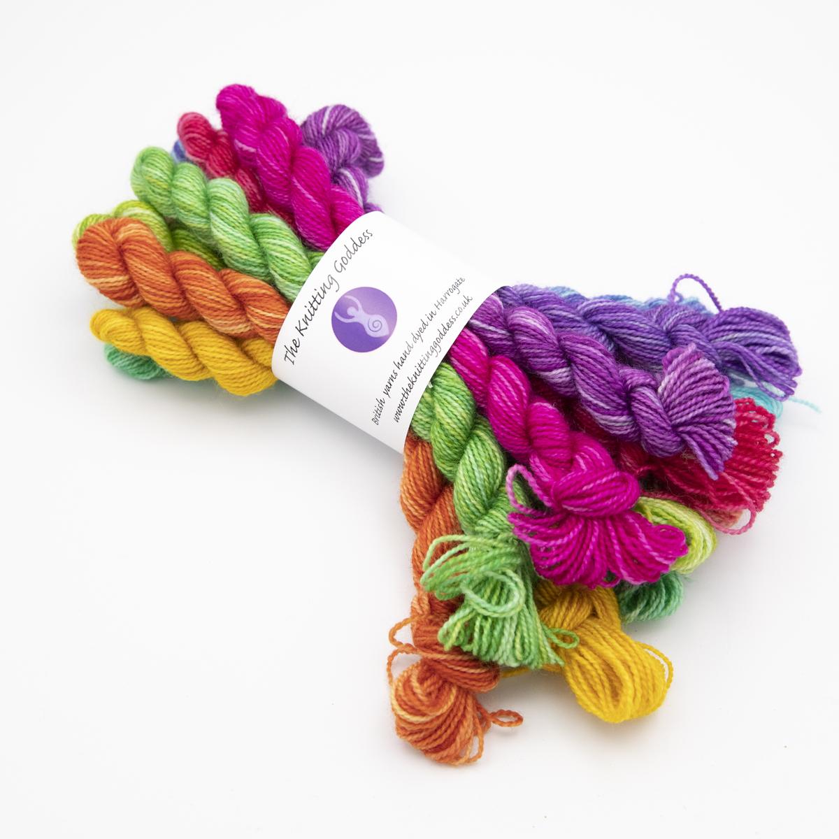 Printer ink hues colourway 4ply BFL nylon mini skeins of yarn