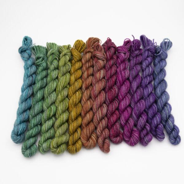 Printer ink shades colourway 4ply BFL nylon mini skeins of yarn
