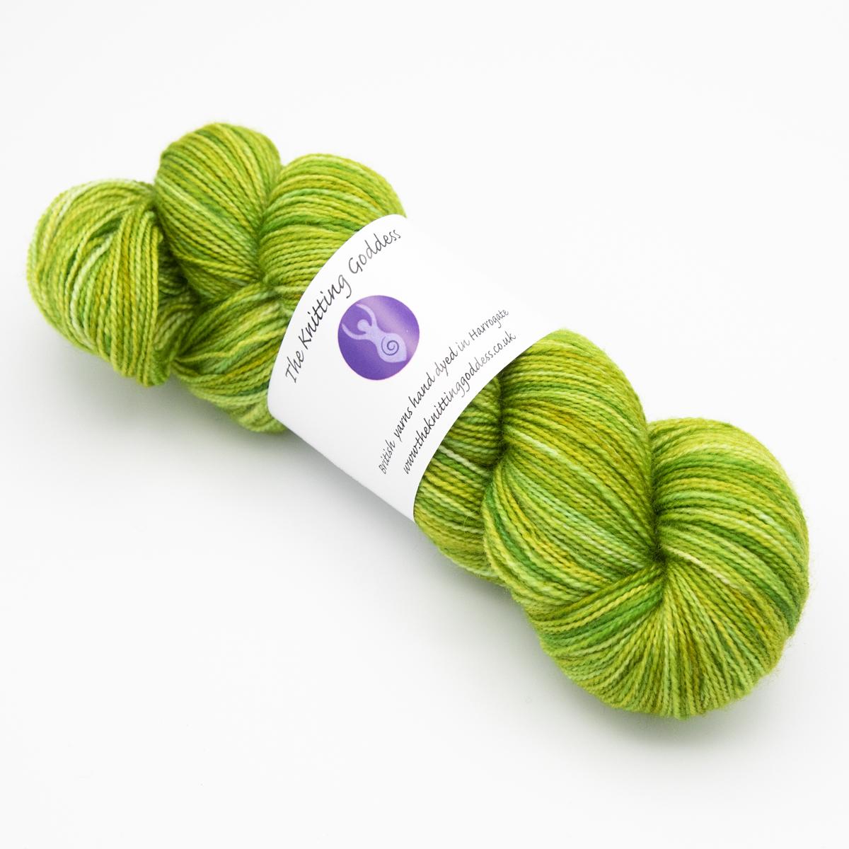 Lime colourway 4ply BFL nylon skein of yarn