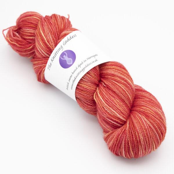 Scarlet colourway 4ply BFL nylon skein of yarn