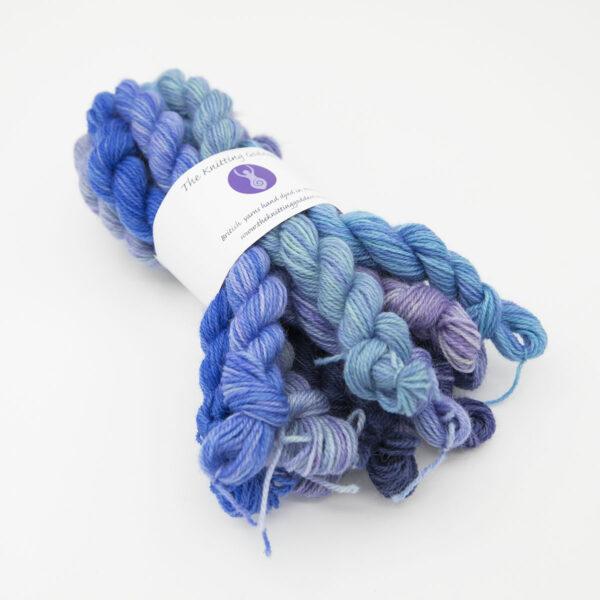 Hydrangea Britsock mini skeins of yarn