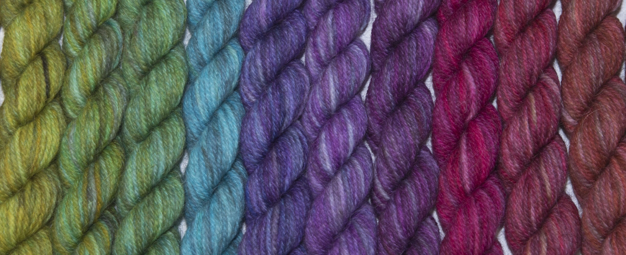 britsock mini skeins laid out in a line