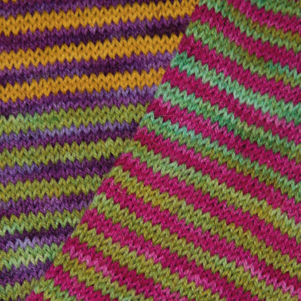 close up of colour study cowl from knit the rainbow