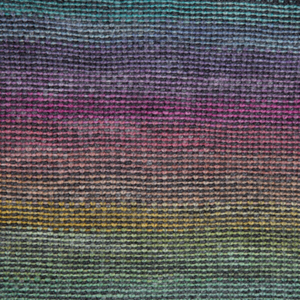 close up of double rainbow linen stitch cowl from knit the rainbow