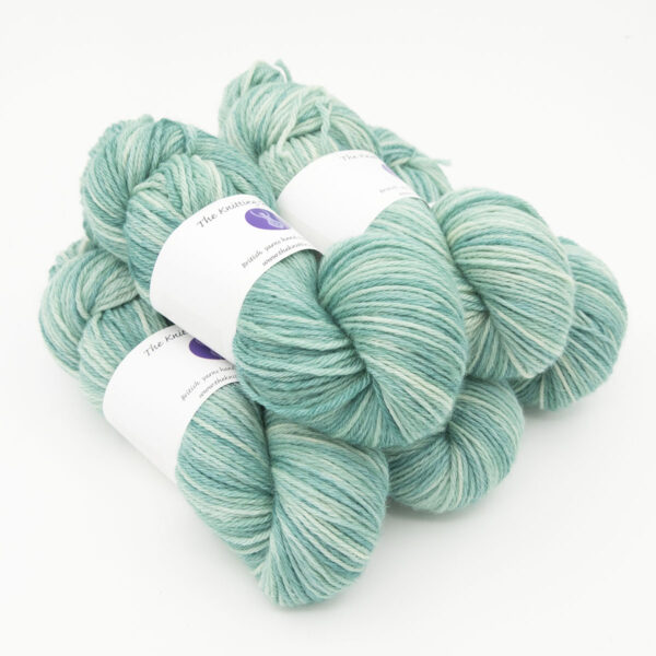 Duck Egg hand dyed skeins of DK Blue Faced Leicester wool
