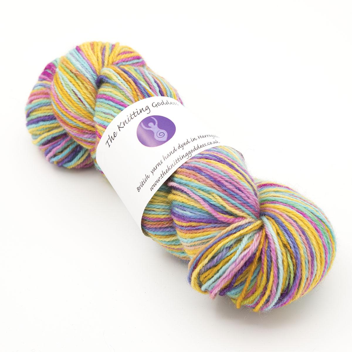 Ultimate Rainbow Britsock variegated skein of yarn