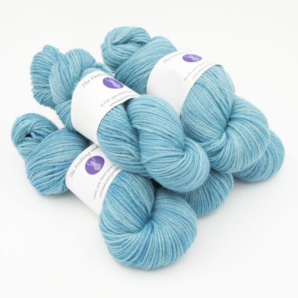 Hydrangea hand dyed skeins of DK Blue Faced Leicester wool