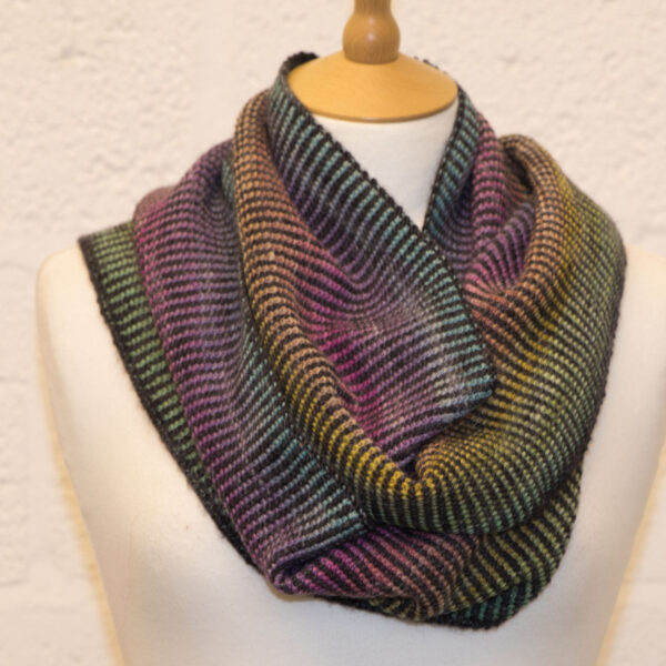 double rainbow linen stitch cowl from knit the rainbow