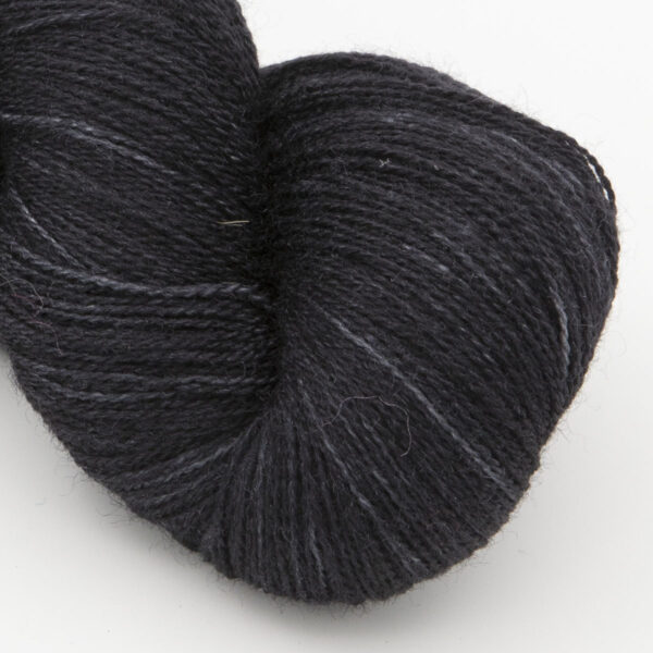 Black moonbow laceweight bfl silk yarn