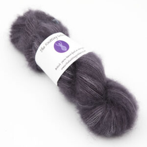 charcoal colourway, skein of fluffy kid mohair and silk laceweight yarn