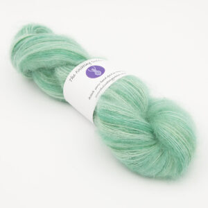 duck egg colourway, skein of fluffy kid mohair and silk laceweight yarn
