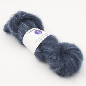 navy colourway, skein of fluffy kid mohair and silk laceweight yarn
