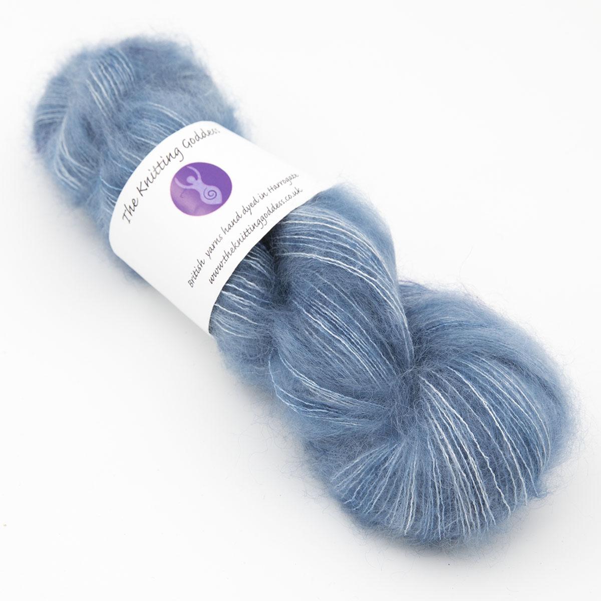 Superhero Genes slate blue colourway, skein of fluffy kid mohair and silk laceweight yarn