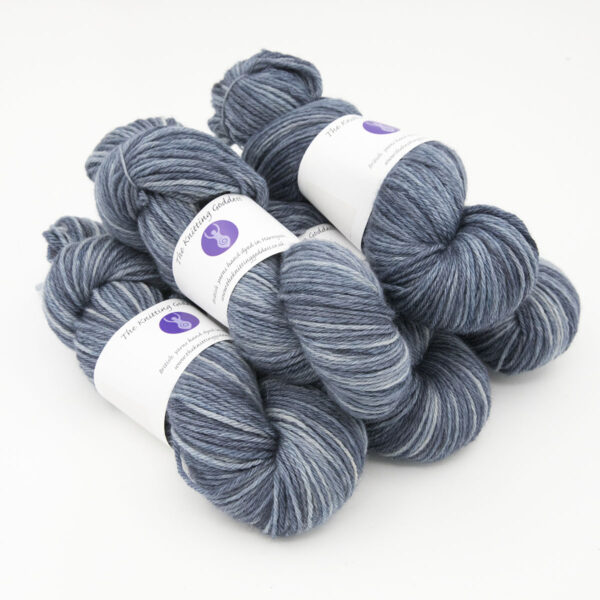 Navy hand dyed skeins of DK Blue Faced Leicester wool