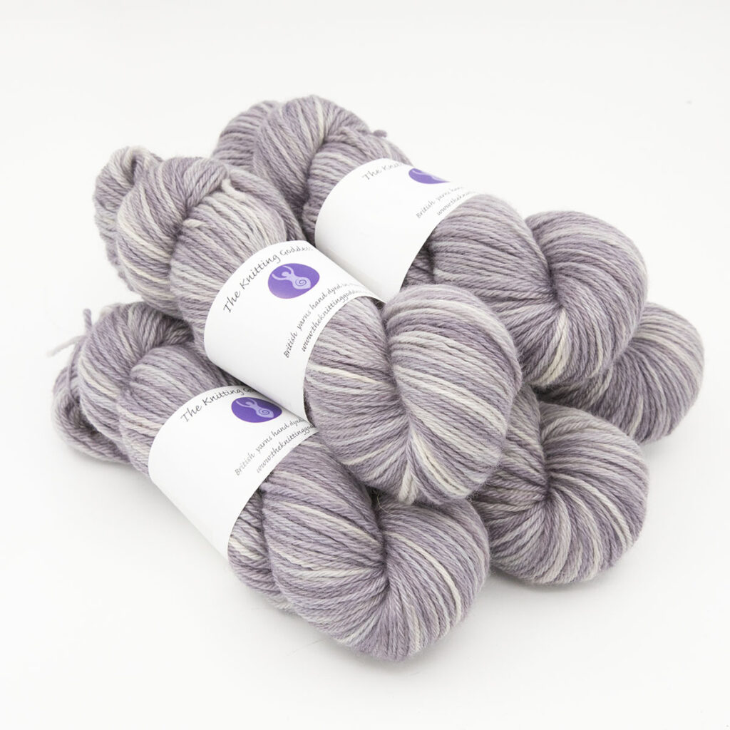 Pearl hand dyed skeins of DK Blue Faced Leicester wool