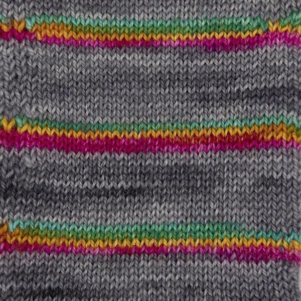 printer ink and silver self striping sock yarn british bfl nylon hand dyed in yorkshire uk