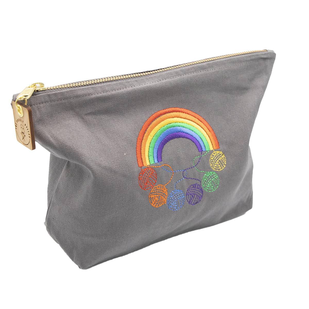 embroidered cotton pouch bag - rainbows and balls of yarn
