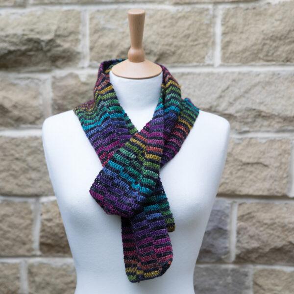 crochet the rainbow stepped scarf