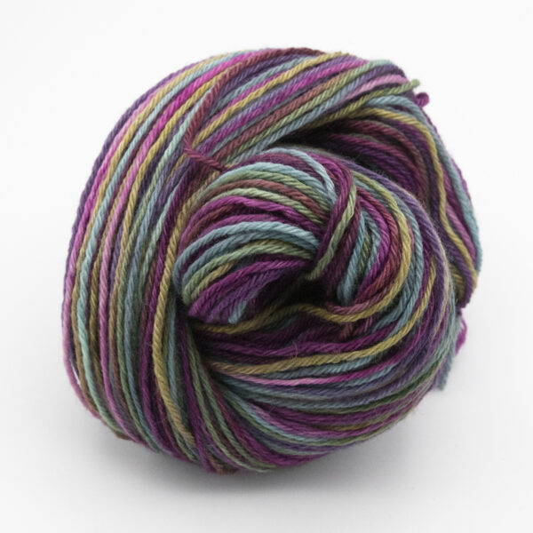 Shadier Rainbow hand dyed skeins of DK Blue Faced Leicester wool
