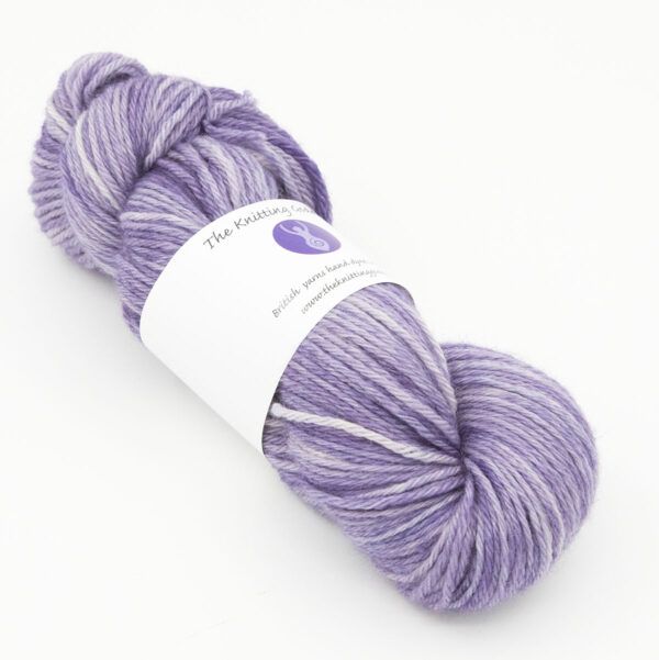 Violet hand dyed skeins of DK Blue Faced Leicester wool