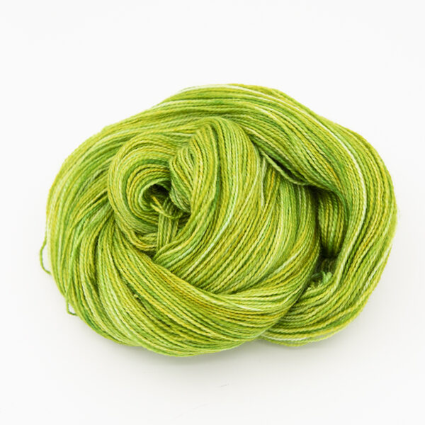 BFL Nylon Lime sock yarn hand dyed by The Knitting Goddess