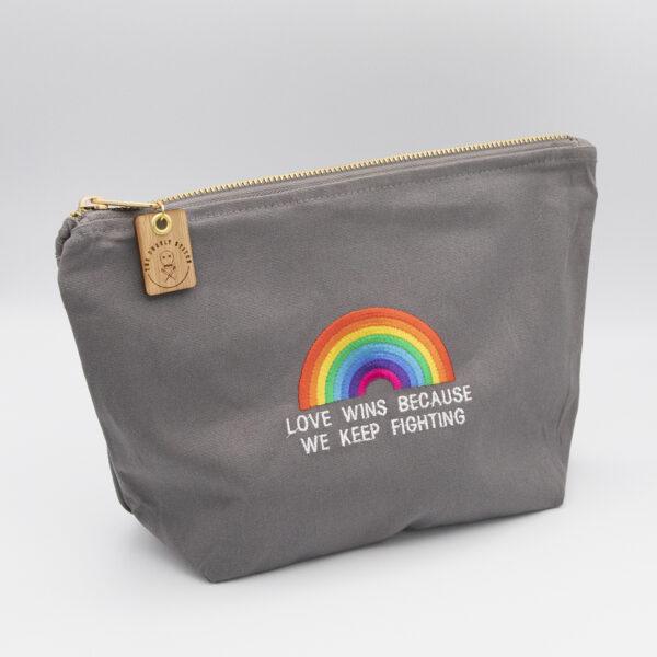 Love wins zip pouch with pride rainbow moonbroch mini skeins