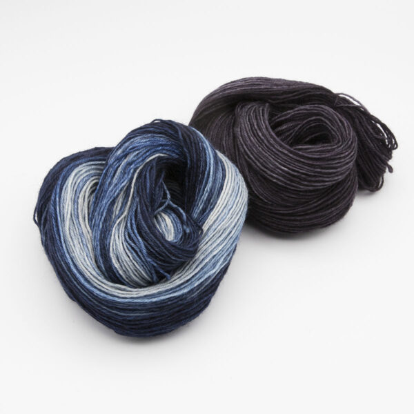 Coal broad stripe rainbow mini skein mitten kit 4ply BFL hand dyed with mitt sample