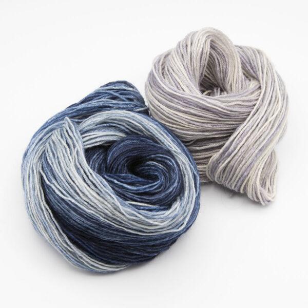 uperhero genes silver mixed stripe rainbow mini skein mitten kit 4ply BFL hand dyed