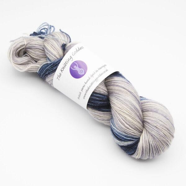 Silver narrow stripe superhero genes kit 4ply BFL hand dyed with mitt sample