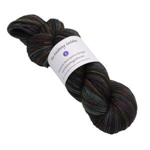 black rainbow skein of sock yarn