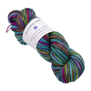 emerald rainbow skein of sock yarn