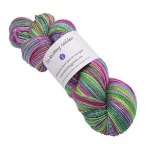 flower power skein of sock yarn