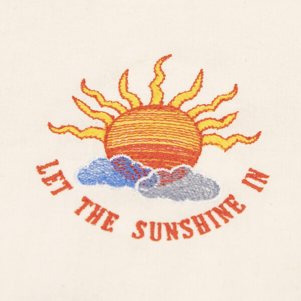 let the sunshine in embroidery of sun and clouds with words underneath