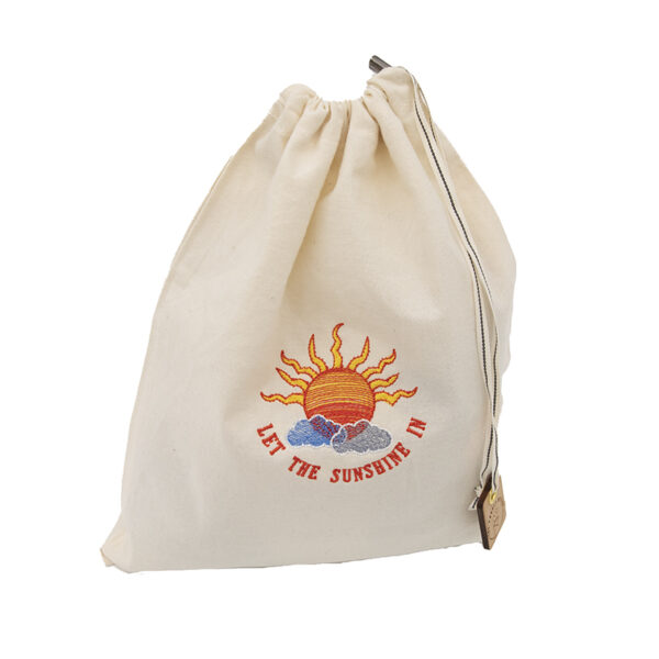 let the sunshine in embroidered cotton drawstring project bag