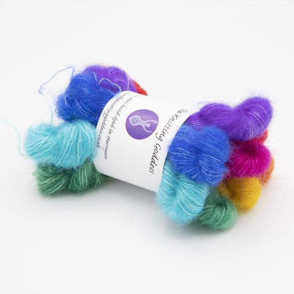 pride rainbow moonbroch mini skeins kid mohair and silk