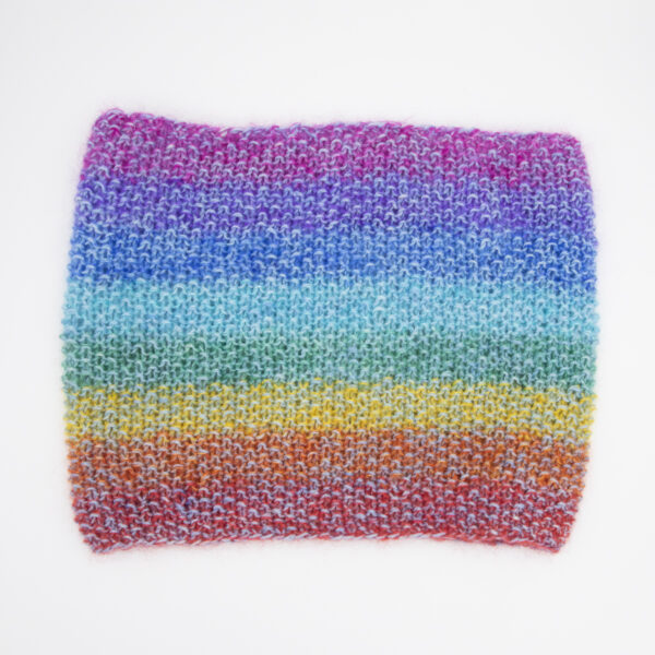 rainbow moonbroch and slate yarn on cowl hand dyed
