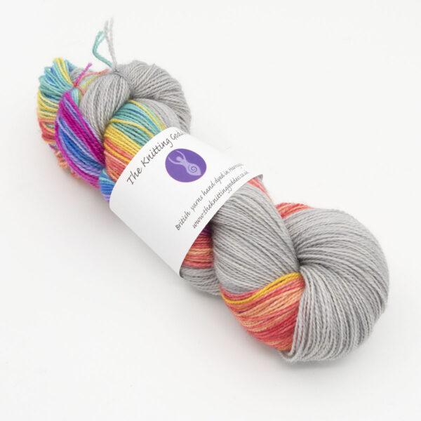 rainbow colours simple strip sock kit hand dyed yarn british wool
