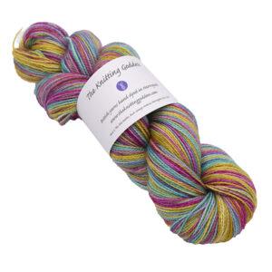 silver rainbow skein of sock yarn