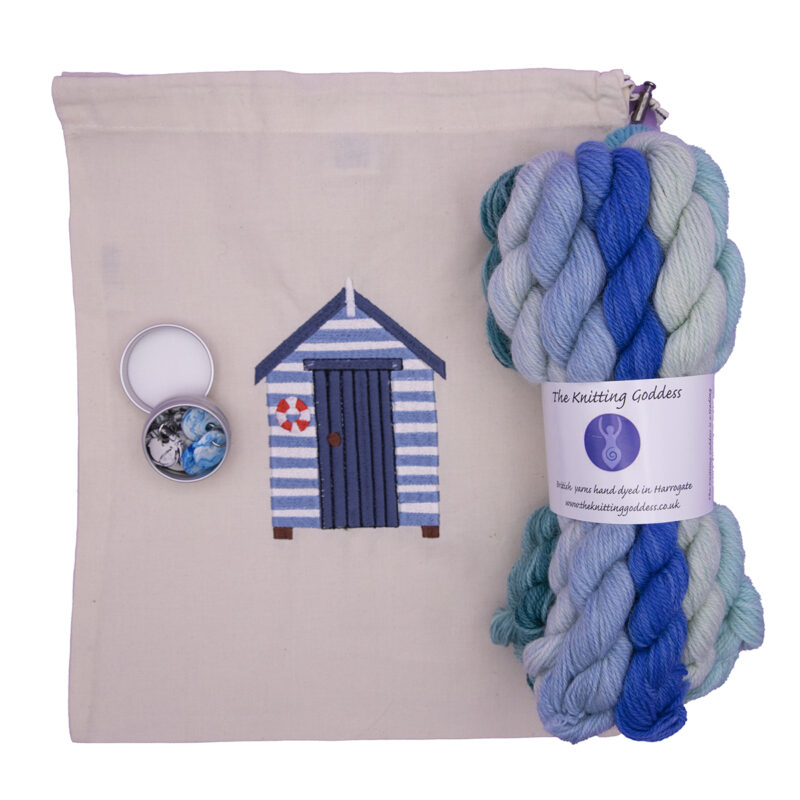wish you were here kit with mini skeins, bag and stitch markers