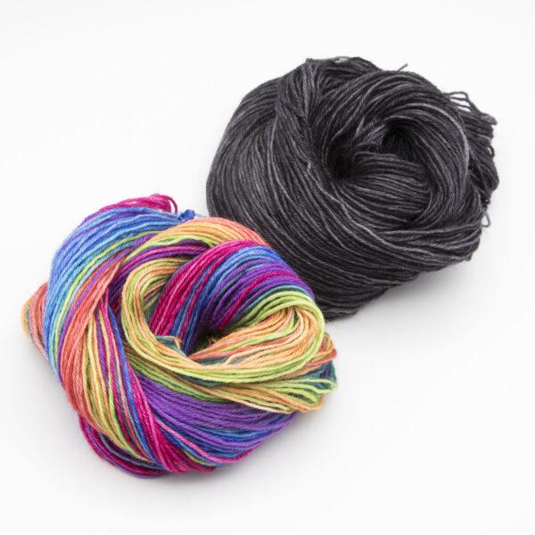 wonky rainbow Coal mixed stripe rainbow mini skein mitten kit 4ply BFL hand dyed