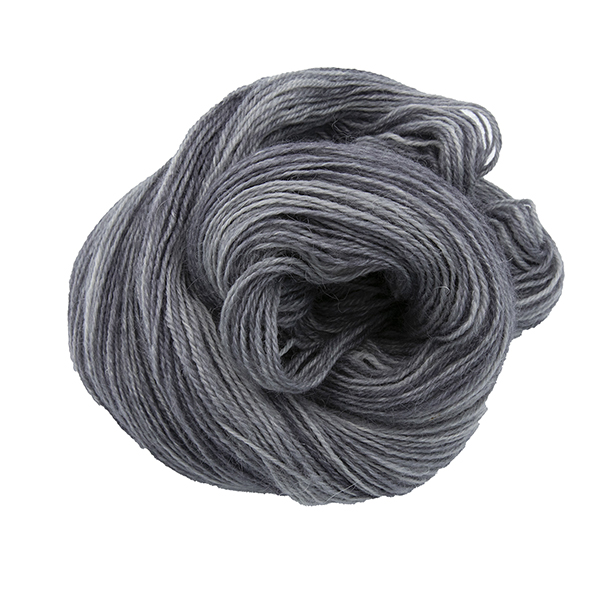 Skein of hand dyed britsock yarn - baby elephant