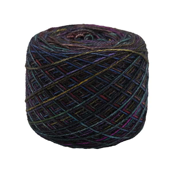 black rainbow self striping sock yarn british bfl nylon hand dyed in yorkshire gb