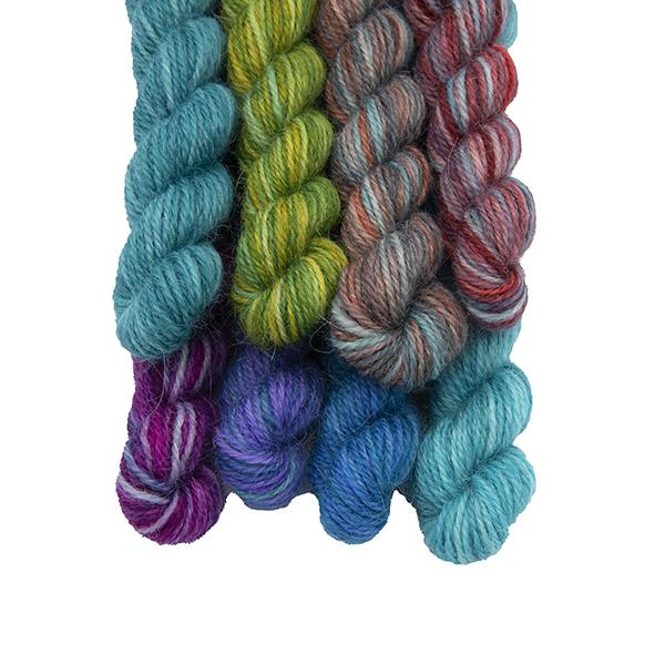 Set of eight mini skeins in Emerald Pride Rainbow