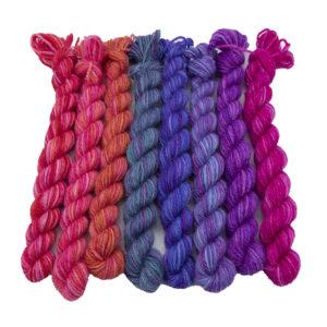Set of eight mini skeins in Pink Pride Rainbow